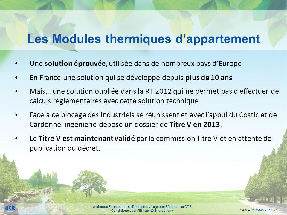 À chaque Équipement sa Régulation, à chaque Bâtiment sa GTB Conditions pour l'Efficacité Énergétique Paris – 21 mars 2014 - 2 Une solution éprouvée, u