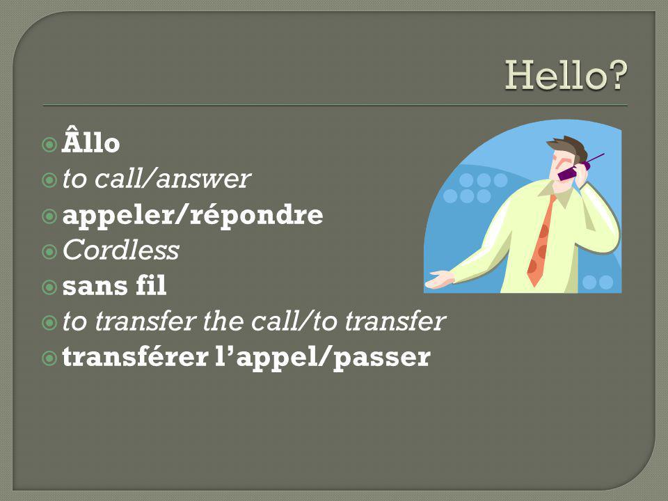  Âllo  to call/answer  appeler/répondre  Cordless  sans fil  to transfer the call/to transfer  transférer l'appel/passer