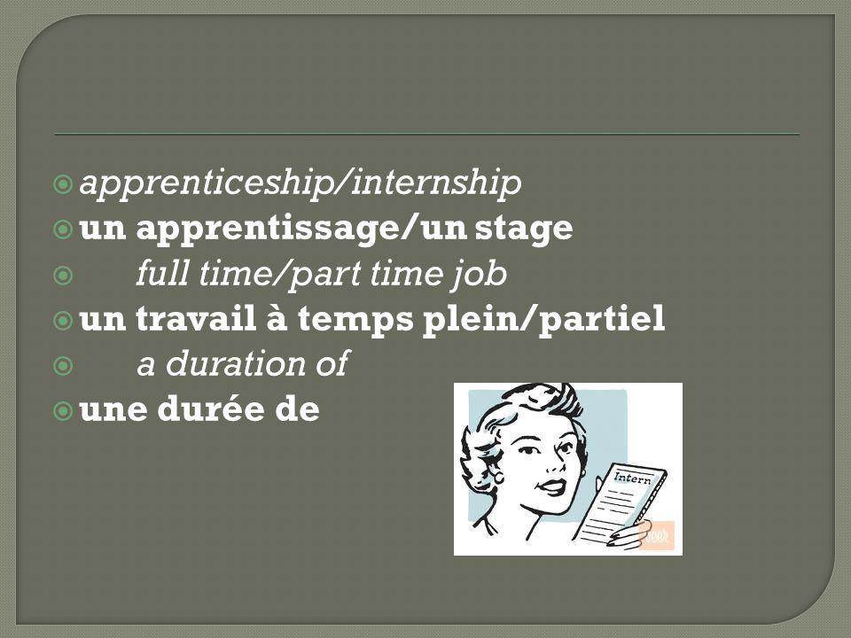  apprenticeship/internship  un apprentissage/un stage  full time/part time job  un travail à temps plein/partiel  a duration of  une durée de