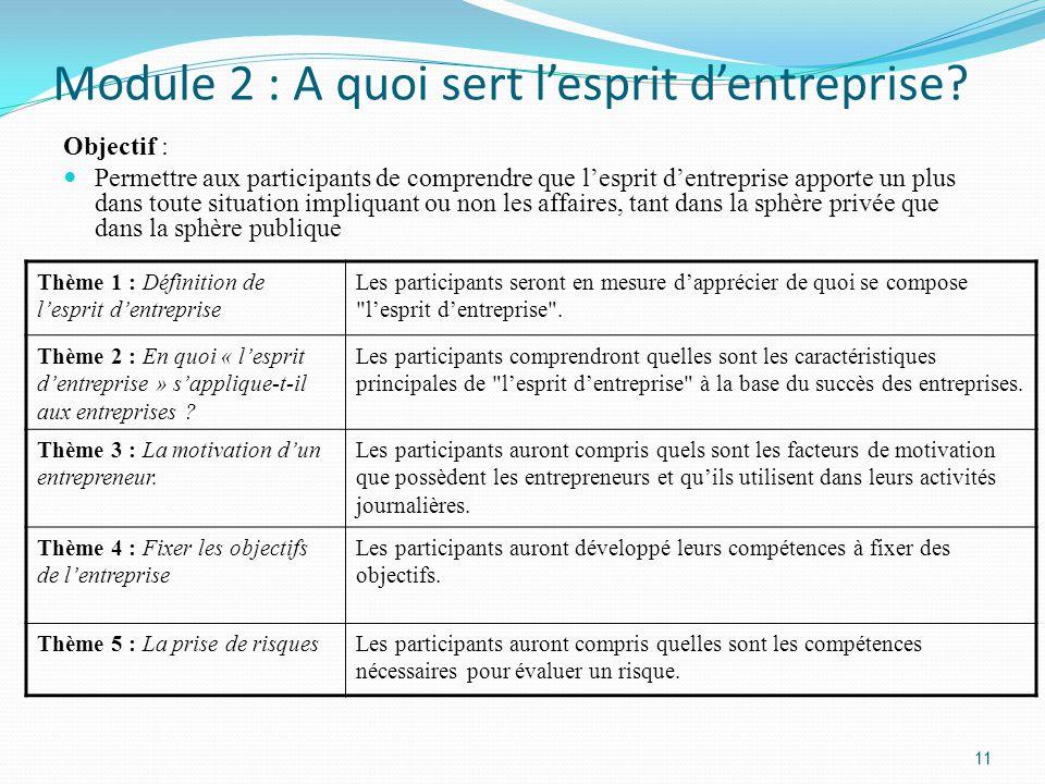 Module 2 : A quoi sert l'esprit d'entreprise.