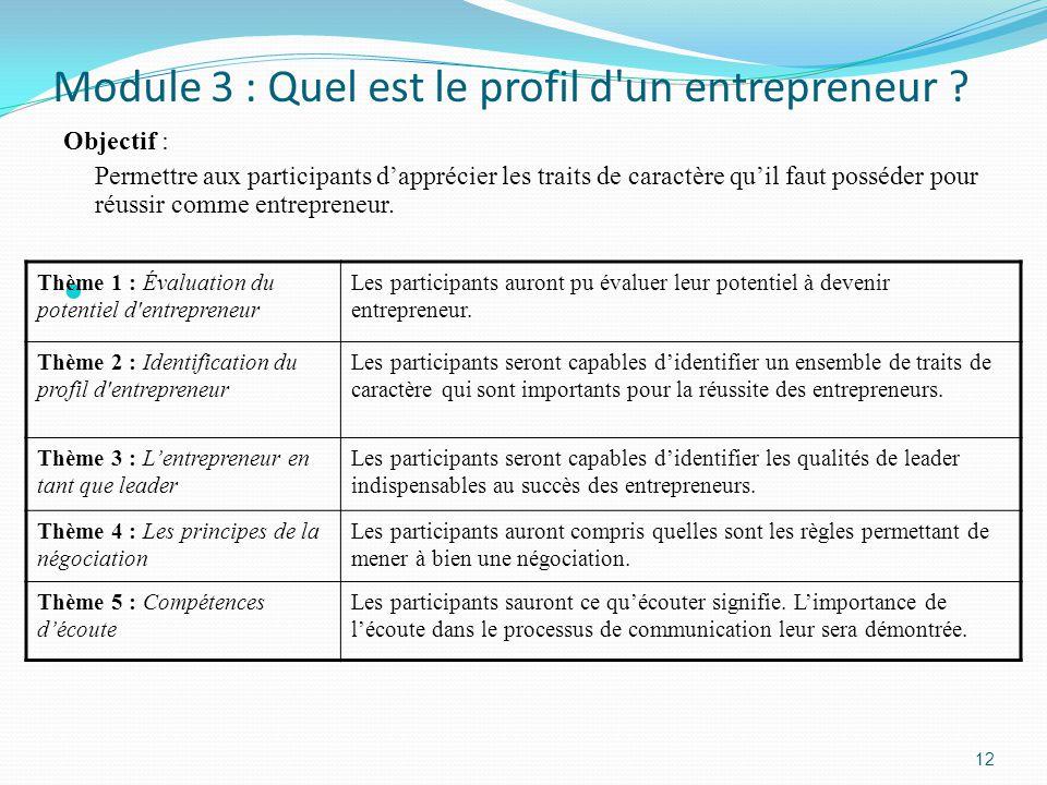 Module 3 : Quel est le profil d un entrepreneur .