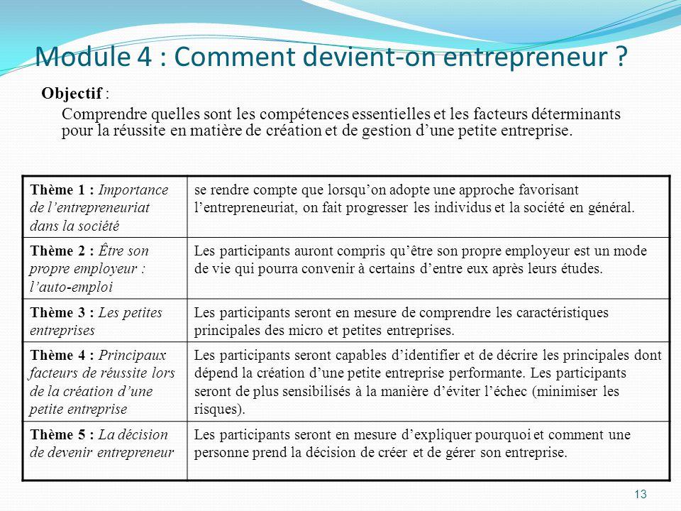 Module 4 : Comment devient-on entrepreneur .
