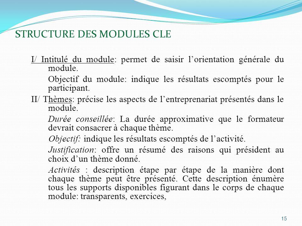 STRUCTURE DES MODULES CLE I/ Intitulé du module: permet de saisir l'orientation générale du module.
