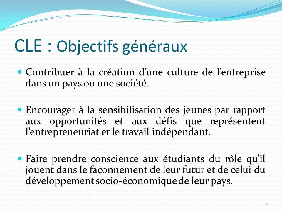 CLE : Objectifs généraux Contribuer à la création d'une culture de l'entreprise dans un pays ou une société.
