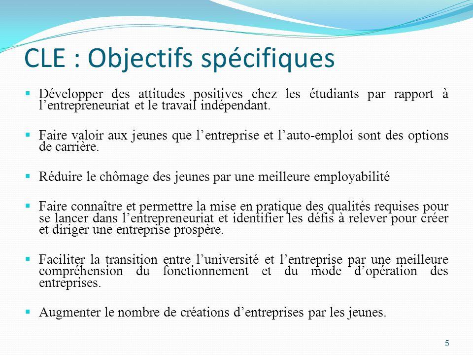 CLE : Objectifs spécifiques  Développer des attitudes positives chez les étudiants par rapport à l'entrepreneuriat et le travail indépendant.