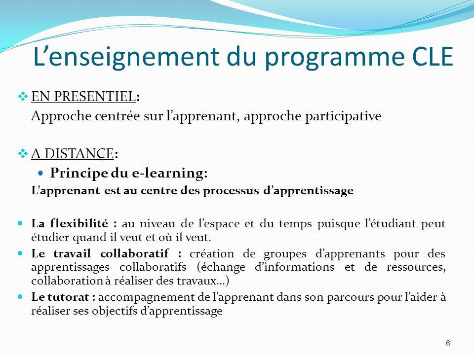  EN PRESENTIEL: Approche centrée sur l'apprenant, approche participative  A DISTANCE: Principe du e-learning: L'apprenant est au centre des processus d'apprentissage La flexibilité : au niveau de l'espace et du temps puisque l'étudiant peut étudier quand il veut et où il veut.