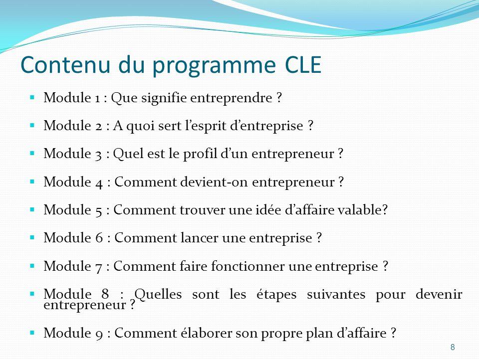 Contenu du programme CLE  Module 1 : Que signifie entreprendre .