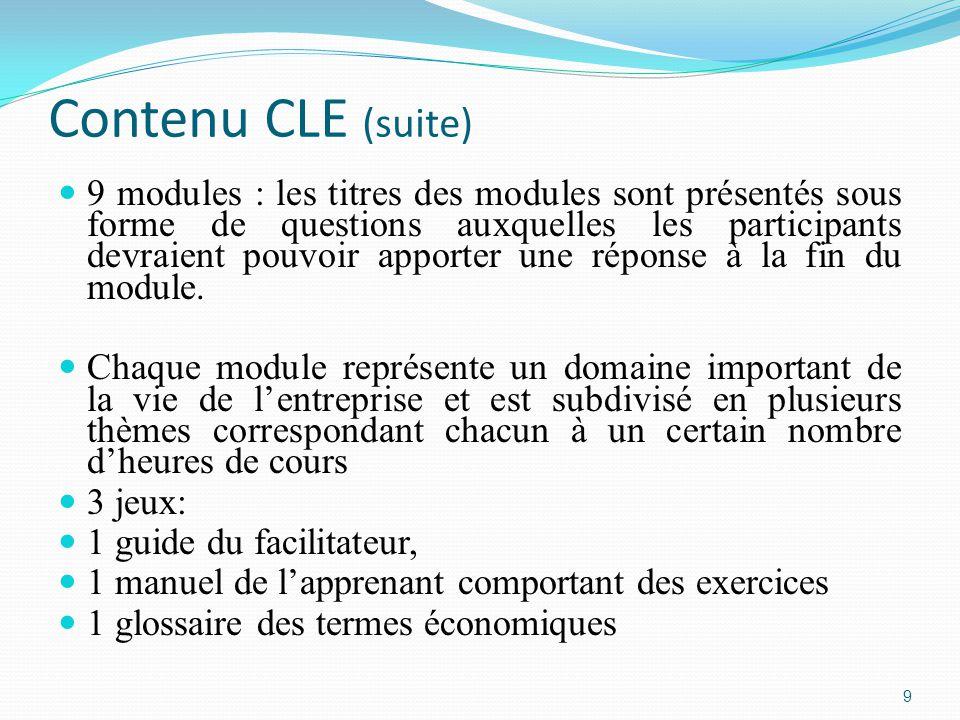 Contenu CLE (suite) 9 modules : les titres des modules sont présentés sous forme de questions auxquelles les participants devraient pouvoir apporter une réponse à la fin du module.