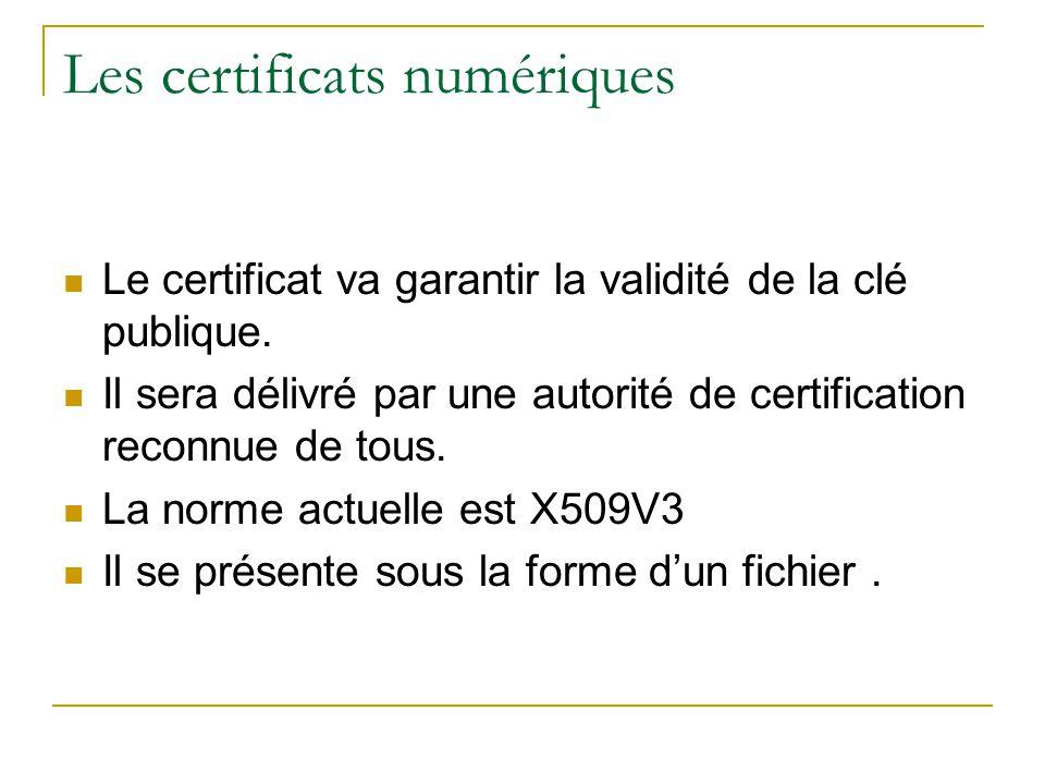 Les certificats numériques Le certificat va garantir la validité de la clé publique. Il sera délivré par une autorité de certification reconnue de tou