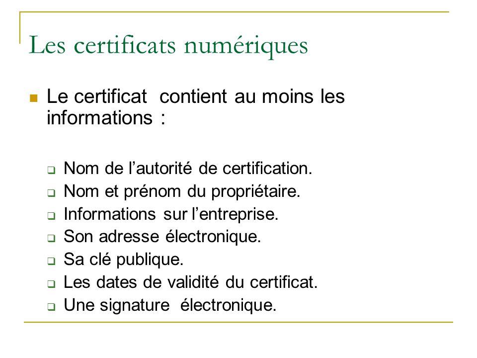 Le certificat contient au moins les informations :  Nom de l'autorité de certification.  Nom et prénom du propriétaire.  Informations sur l'entrepr