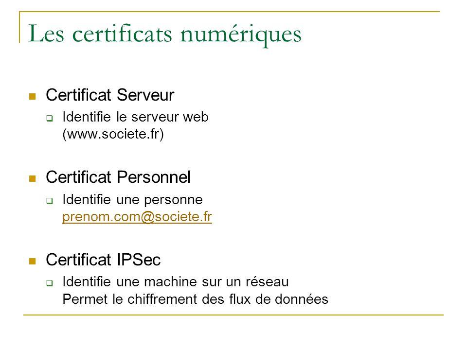 Les certificats numériques Certificat Serveur  Identifie le serveur web (www.societe.fr) Certificat Personnel  Identifie une personne prenom.com@soc