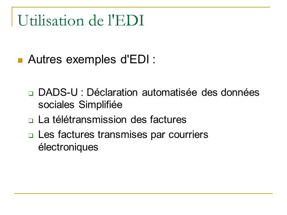 Utilisation de l EDI Autres exemples d EDI :  DADS-U : Déclaration automatisée des données sociales Simplifiée  La télétransmission des factures  Les factures transmises par courriers électroniques