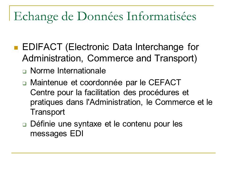 Echange de Données Informatisées EDIFACT (Electronic Data Interchange for Administration, Commerce and Transport)  Norme Internationale  Maintenue et coordonnée par le CEFACT Centre pour la facilitation des procédures et pratiques dans l Administration, le Commerce et le Transport  Définie une syntaxe et le contenu pour les messages EDI