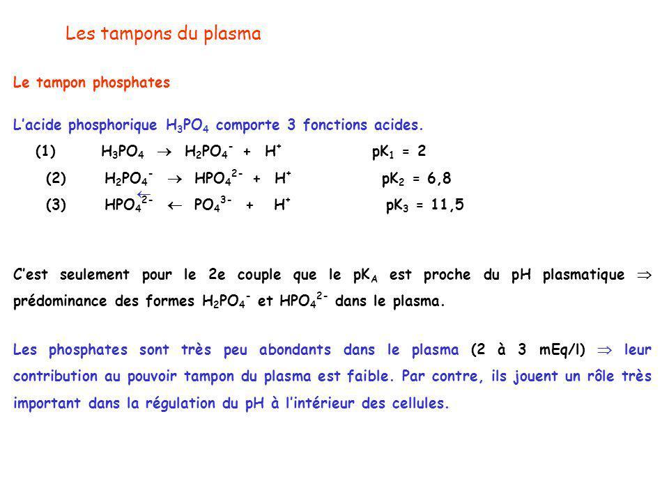 Les tampons du plasma Le tampon phosphates L'acide phosphorique H 3 PO 4 comporte 3 fonctions acides.