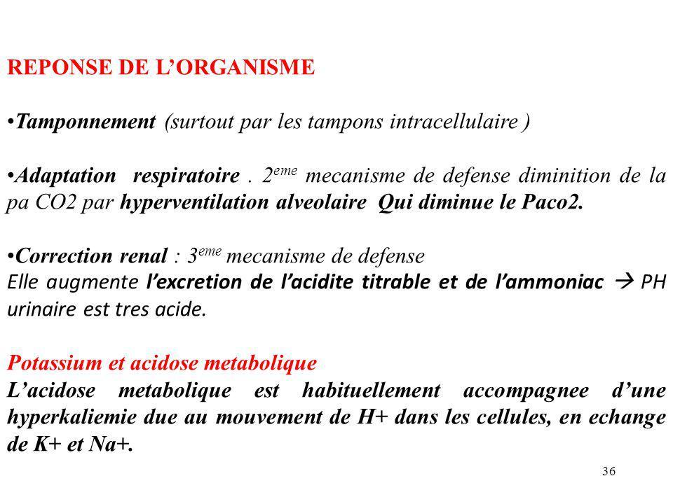 36 REPONSE DE L'ORGANISME Tamponnement (surtout par les tampons intracellulaire ) Adaptation respiratoire.