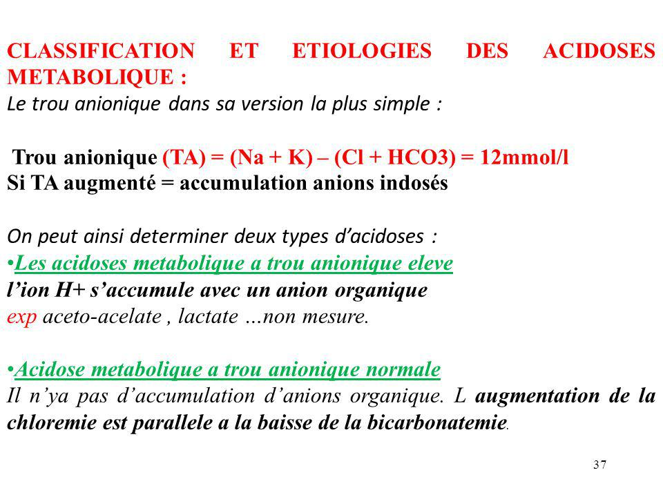 37 CLASSIFICATION ET ETIOLOGIES DES ACIDOSES METABOLIQUE : Le trou anionique dans sa version la plus simple : Trou anionique (TA) = (Na + K) – (Cl + H