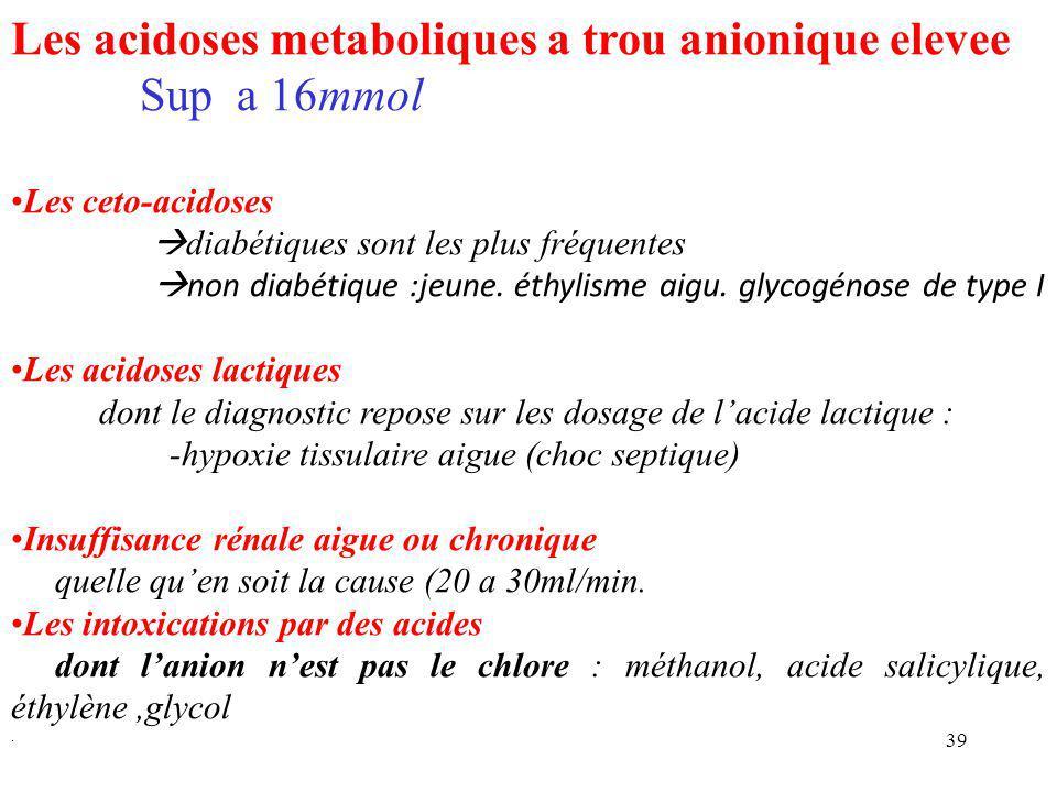 39 Les acidoses metaboliques a trou anionique elevee Sup a 16mmol Les ceto-acidoses  diabétiques sont les plus fréquentes  non diabétique :jeune.