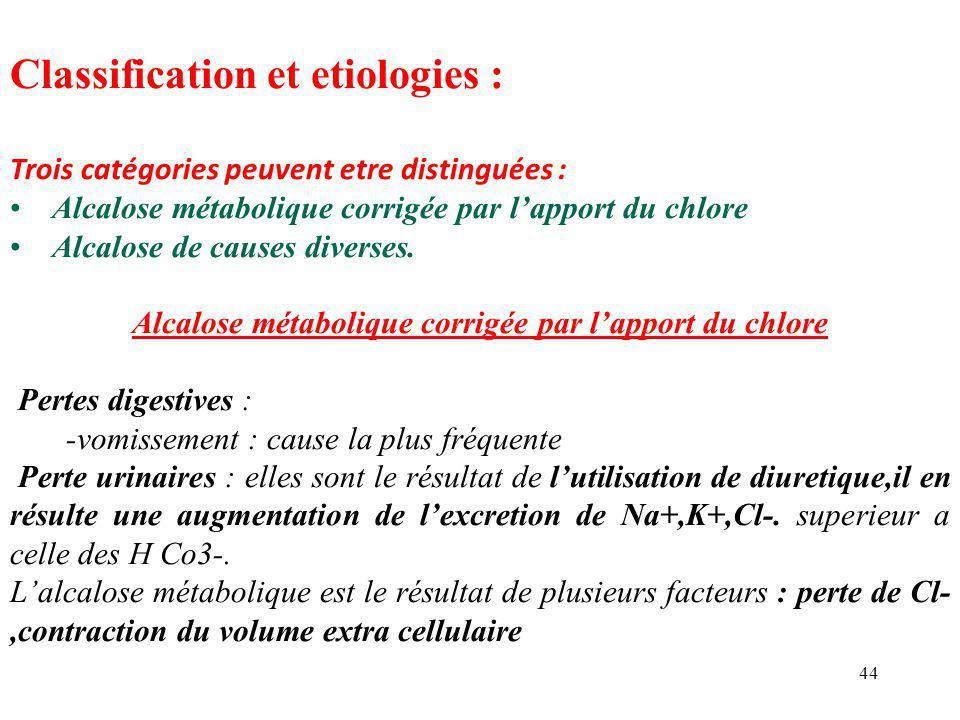 44 Classification et etiologies : Trois catégories peuvent etre distinguées : Alcalose métabolique corrigée par l'apport du chlore Alcalose de causes diverses.