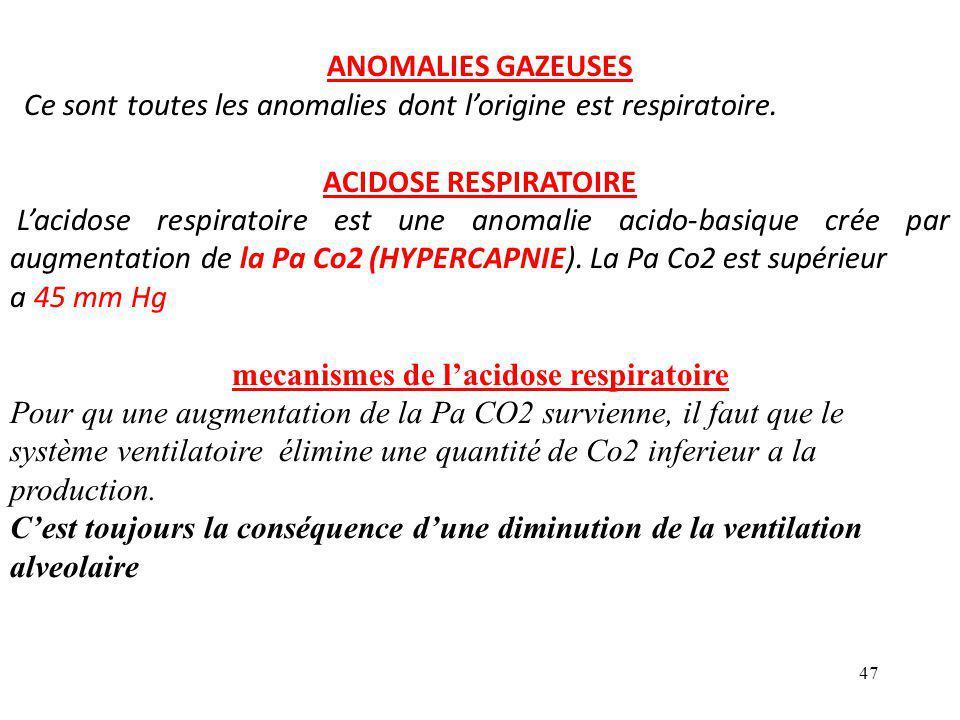 47 ANOMALIES GAZEUSES Ce sont toutes les anomalies dont l'origine est respiratoire.