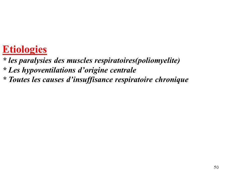 50 Etiologies * les paralysies des muscles respiratoires(poliomyelite) * Les hypoventilations d'origine centrale * Toutes les causes d'insuffisance respiratoire chronique