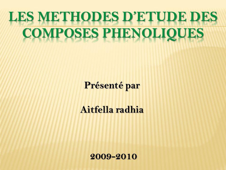 Plan du travail Introduction 1.Définition 3. Méthodes d'étude des composés phénoliques 2.