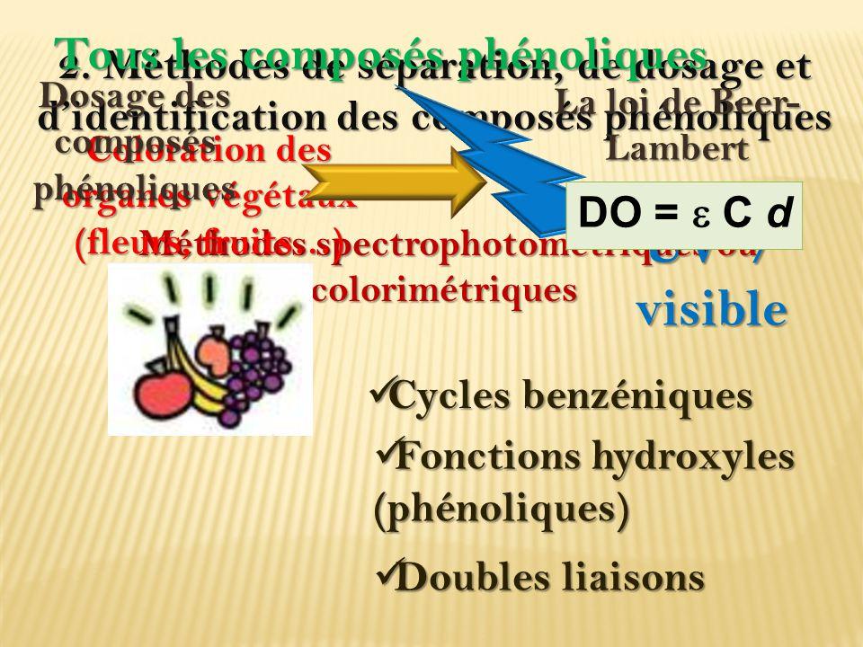 2. Méthodes de séparation, de dosage et d'identification des composés phénoliques Méthodes spectrophotométriques ou colorimétriques Méthodes spectroph