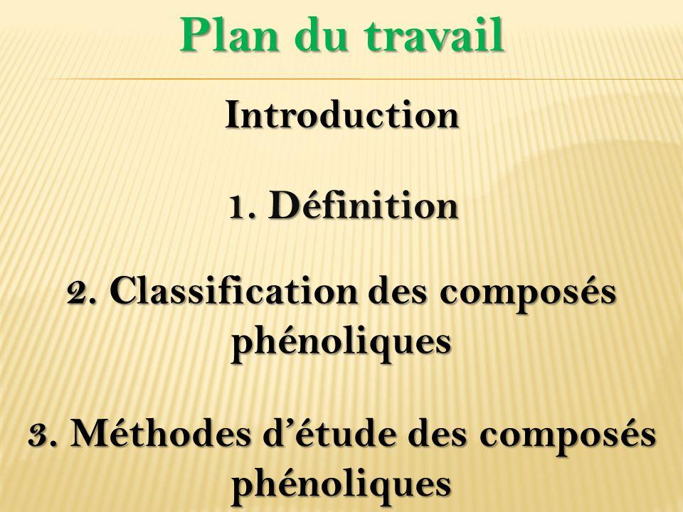 Plan du travail Introduction 1. Définition 3. Méthodes d'étude des composés phénoliques 2. Classification des composés phénoliques