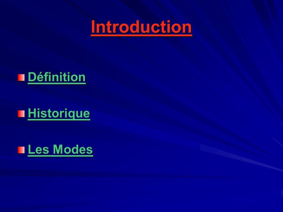 Introduction DéfinitionHistorique Les Modes