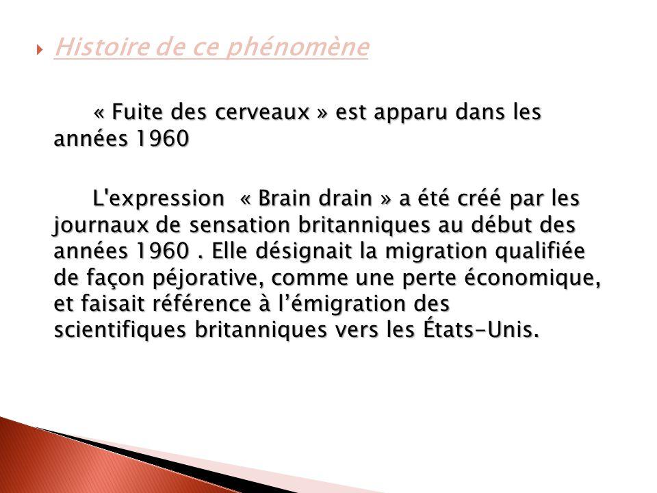  Histoire de ce phénomène « Fuite des cerveaux » est apparu dans les années 1960 L expression « Brain drain » a été créé par les journaux de sensation britanniques au début des années 1960.