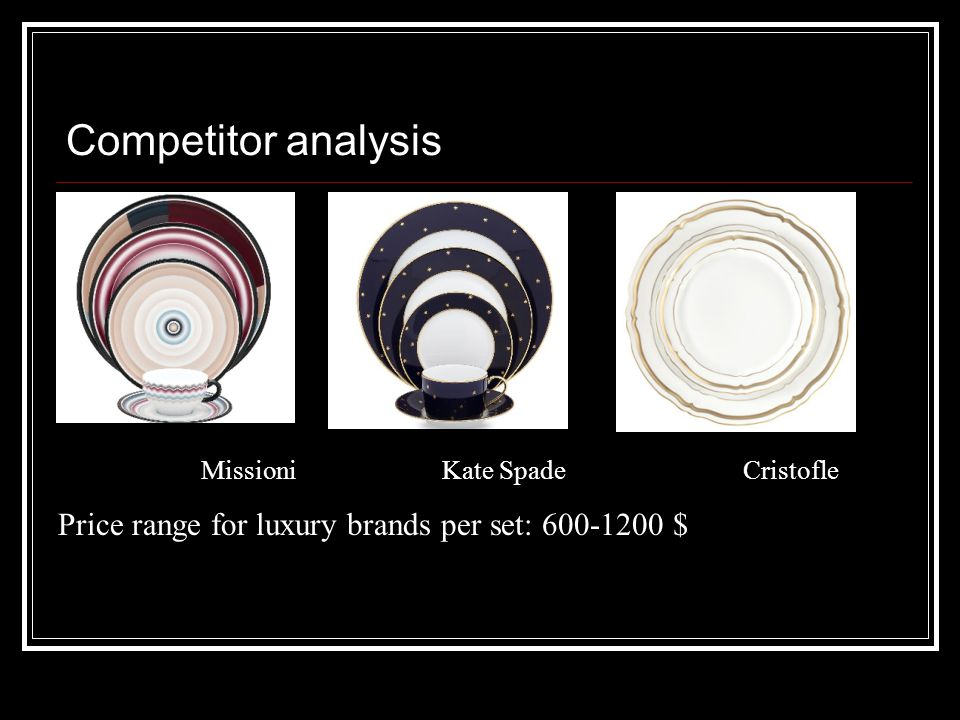 Competitor analysis Missioni Kate Spade Cristofle Price range for luxury brands per set: 600-1200 $