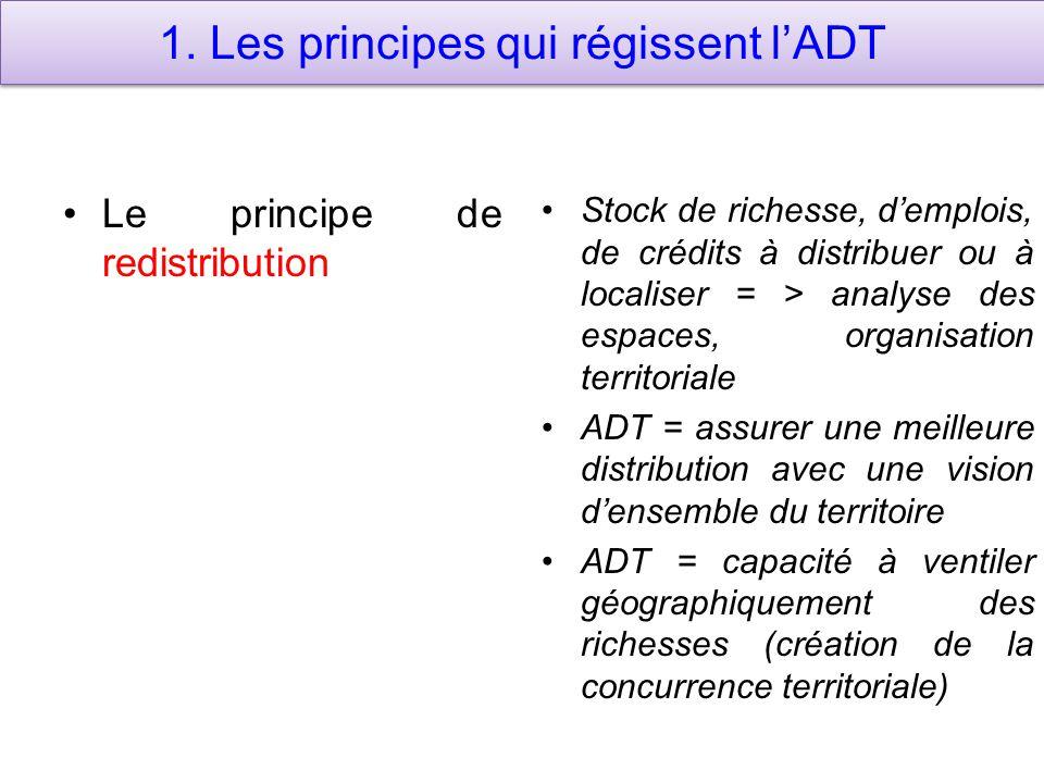 1. Les principes qui régissent l'ADT Le principe de redistribution Stock de richesse, d'emplois, de crédits à distribuer ou à localiser = > analyse de