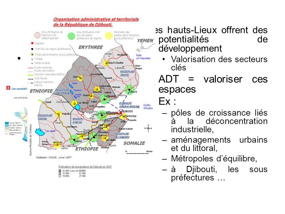 Le principe de création Les hauts-Lieux offrent des potentialités de développement Valorisation des secteurs clés ADT = valoriser ces espaces Ex : –pô