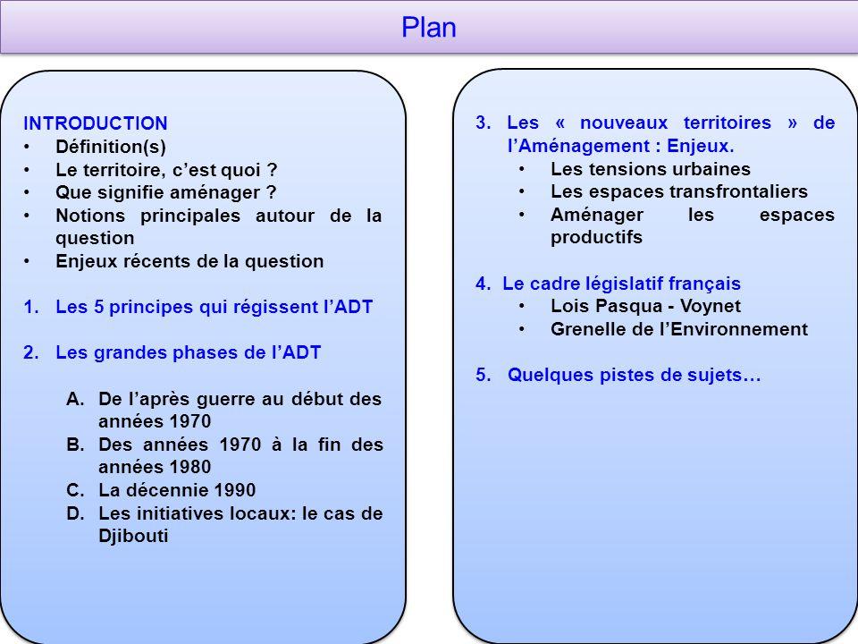 Plan INTRODUCTION Définition(s) Le territoire, c'est quoi ? Que signifie aménager ? Notions principales autour de la question Enjeux récents de la que