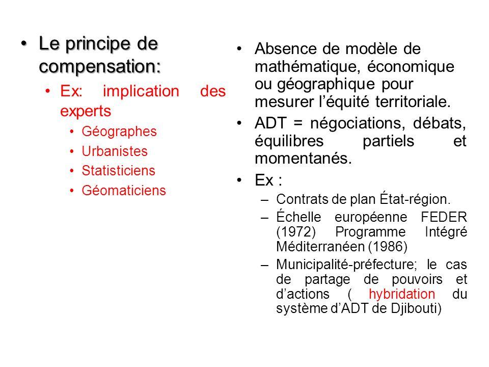Le principe de compensation:Le principe de compensation: Ex: implication des experts Géographes Urbanistes Statisticiens Géomaticiens Absence de modèle de mathématique, économique ou géographique pour mesurer l'équité territoriale.