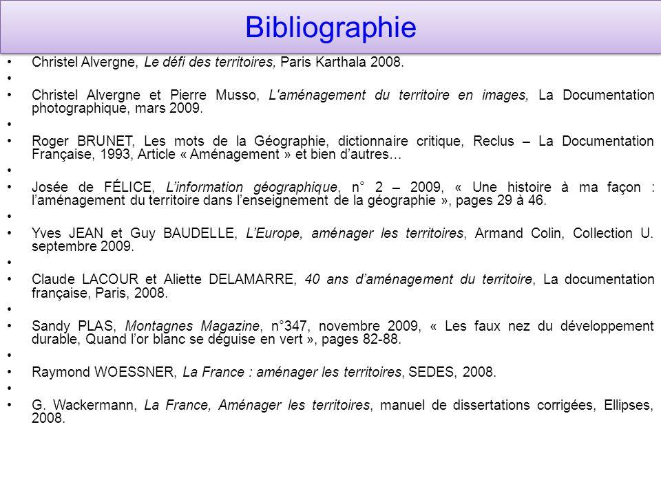 Bibliographie Christel Alvergne, Le défi des territoires, Paris Karthala 2008. Christel Alvergne et Pierre Musso, L'aménagement du territoire en image