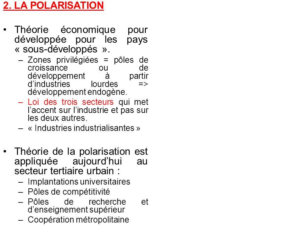 2. LA POLARISATION Théorie économique pour développée pour les pays « sous-développés ». –Zones privilégiées = pôles de croissance ou de développement