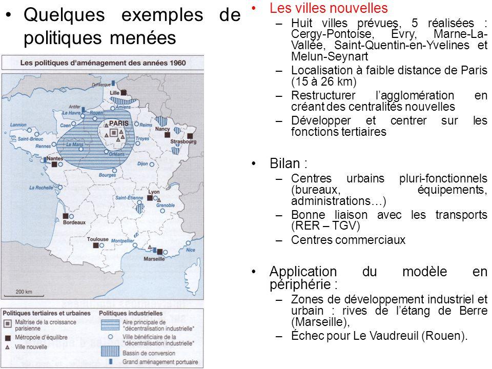 Quelques exemples de politiques menées Les villes nouvelles –Huit villes prévues, 5 réalisées : Cergy-Pontoise, Évry, Marne-La- Vallée, Saint-Quentin-en-Yvelines et Melun-Seynart –Localisation à faible distance de Paris (15 à 26 km) –Restructurer l'agglomération en créant des centralités nouvelles –Développer et centrer sur les fonctions tertiaires Bilan : –Centres urbains pluri-fonctionnels (bureaux, équipements, administrations…) –Bonne liaison avec les transports (RER – TGV) –Centres commerciaux Application du modèle en périphérie : –Zones de développement industriel et urbain : rives de l'étang de Berre (Marseille), –Échec pour Le Vaudreuil (Rouen).