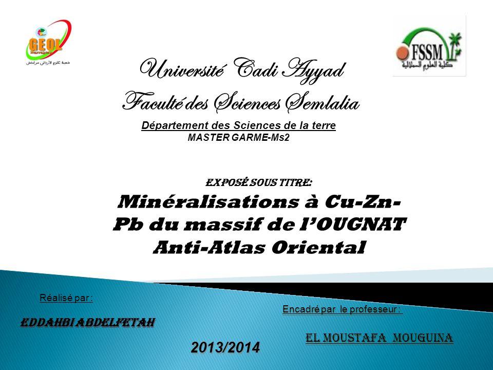 Encadré par le professeur : Réalisé par : EDDAHBI Abdelfetah 2013/2014 Université Cadi Ayyad Faculté des Sciences Semlalia Département des Sciences de