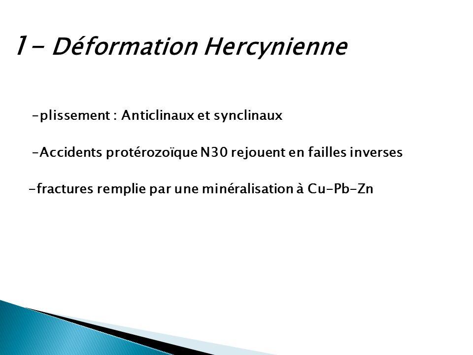 1- Déformation Hercynienne -plissement : Anticlinaux et synclinaux -Accidents protérozoïque N30 rejouent en failles inverses -fractures remplie par un