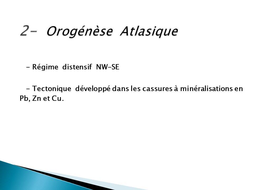 - Régime distensif NW-SE - Tectonique développé dans les cassures à minéralisations en Pb, Zn et Cu.