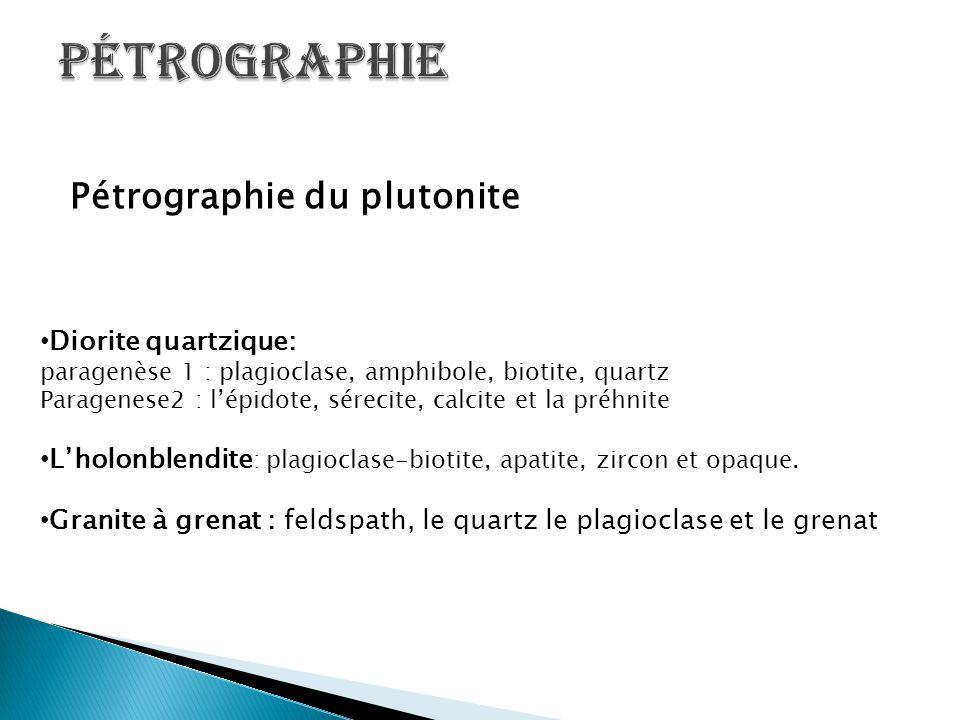 Pétrographie du plutonite Diorite quartzique: paragenèse 1 : plagioclase, amphibole, biotite, quartz Paragenese2 : l'épidote, sérecite, calcite et la
