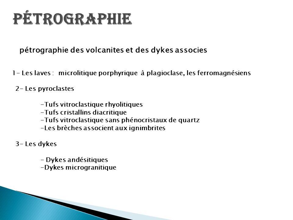 pétrographie des volcanites et des dykes associes 1- Les laves : microlitique porphyrique à plagioclase, les ferromagnésiens 2- Les pyroclastes -Tufs