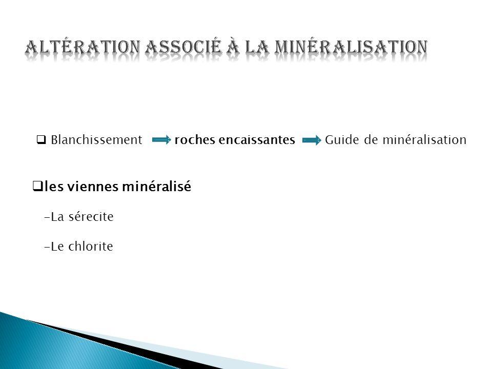  Blanchissement roches encaissantes Guide de minéralisation  les viennes minéralisé -La sérecite -Le chlorite