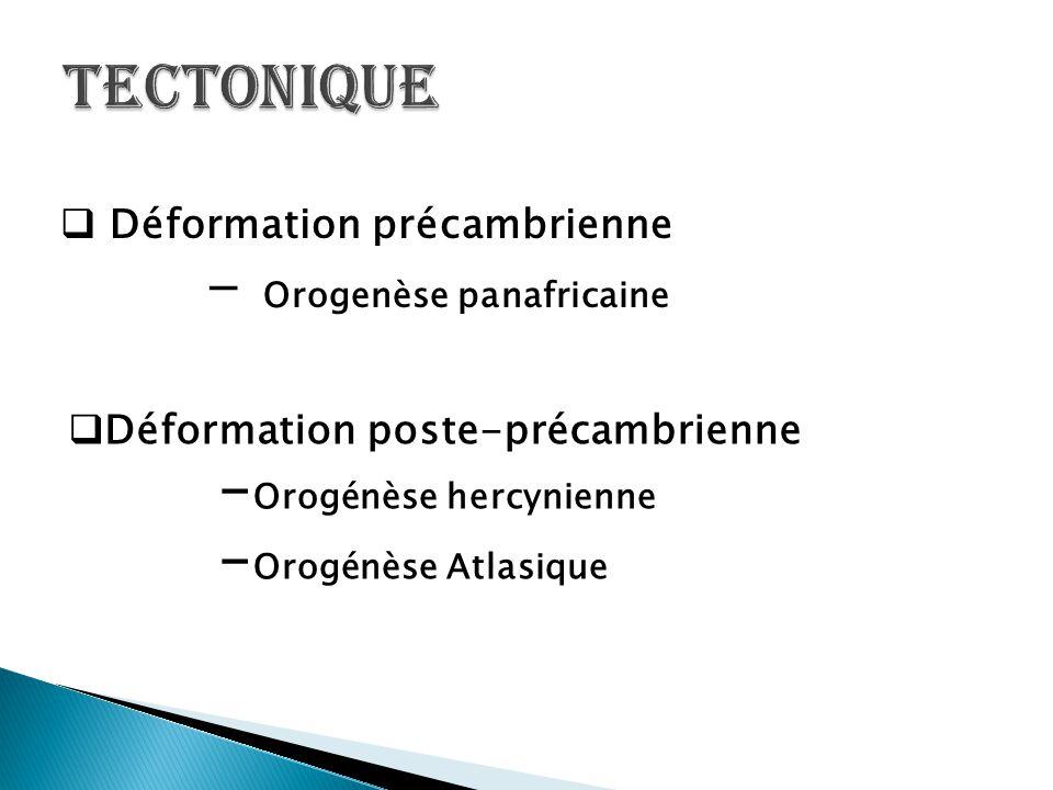  Déformation précambrienne - Orogenèse panafricaine  Déformation poste-précambrienne - Orogénèse hercynienne - Orogénèse Atlasique