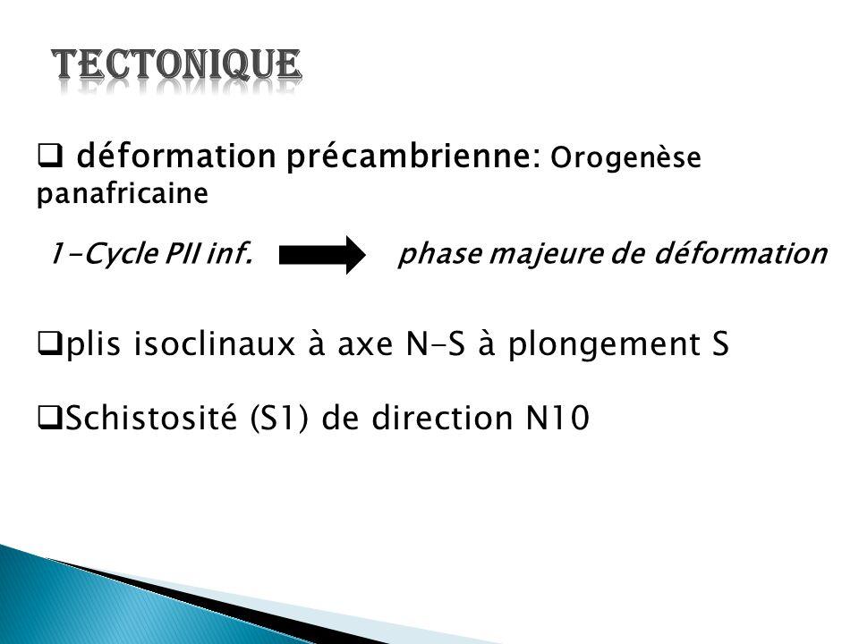  déformation précambrienne: Orogenèse panafricaine 1-Cycle PII inf. phase majeure de déformation  plis isoclinaux à axe N-S à plongement S  Schisto
