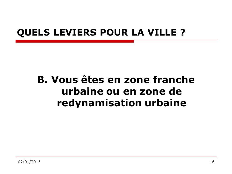 02/01/201516 QUELS LEVIERS POUR LA VILLE . B.