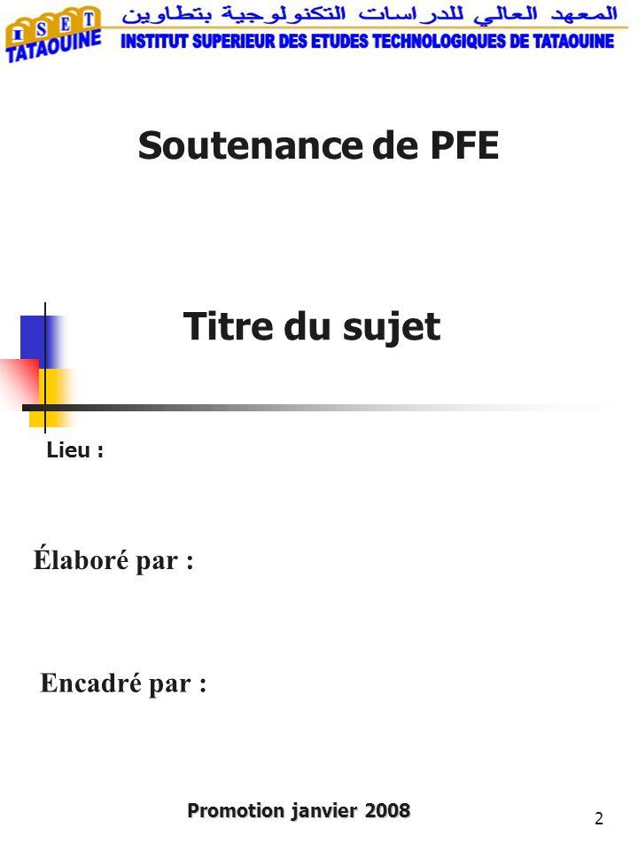 2 Soutenance de PFE Promotion janvier 2008 Encadré par : Lieu : Élaboré par : Titre du sujet