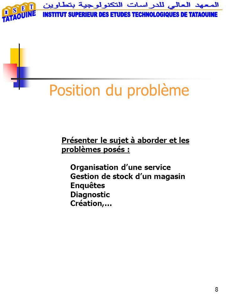 8 Position du problème Présenter le sujet à aborder et les problèmes posés : Organisation d'une service Gestion de stock d'un magasin Enquêtes Diagnos