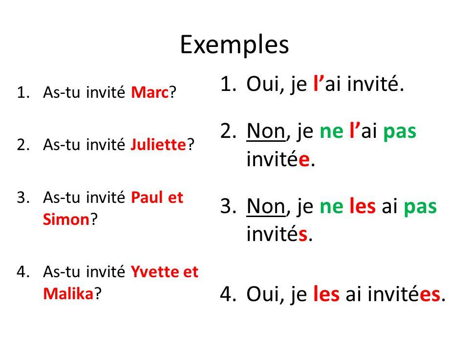 Exemples 1.As-tu invité Marc? 2.As-tu invité Juliette? 3.As-tu invité Paul et Simon? 4.As-tu invité Yvette et Malika? 1.Oui, je l'ai invité. 2.Non, je