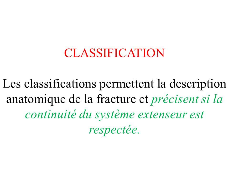 CLASSIFICATION Les classifications permettent la description anatomique de la fracture et précisent si la continuité du système extenseur est respecté